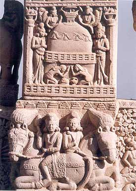 The presence of Buddha realised in Stupa. The Shunga art idiom.