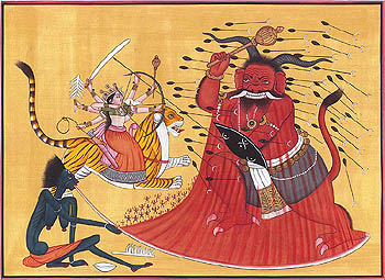 Annihilation of Raktabija by Goddess Durga and Kali