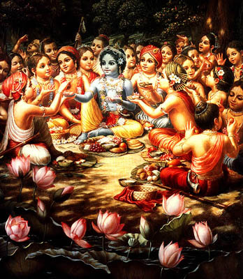 Krishna and His Friends Enjoy the Meal