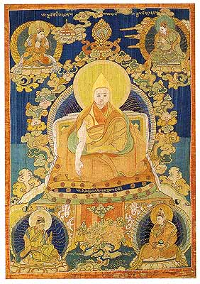The First Dalai Lama, Surrounded by previous incarnations of the Dalai Lamas, including King Songt-sen Gampo (lower right), the mystical King Lha Thothori (upper left).