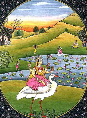Goddess Saraswati on Her Swan