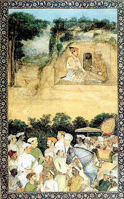 Jahangir Visiting the Ascetic Jadrup by artist Govardhan, circa 1616 - 1620 (Musee Guimet, Paris)