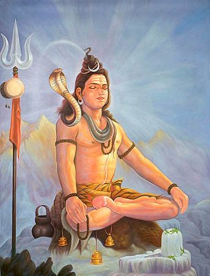 Kailashpati on Kailash (Meditating Shiva) with Shivalinga of Ice
