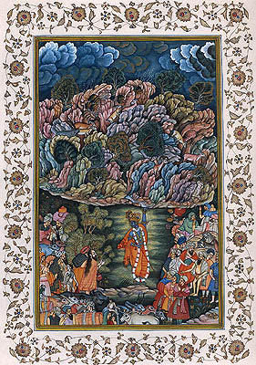Lord Krishna Lifting the Mountain Govardhana