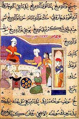 Preparation of Sweets for the Sultan of Mandu, circa 1495 - 1505. The Nimatnama is a recipe book in Persian with methods for cooking all sorts of delicacies, aphrodisiacs, and other epicurean delights. The text is illustrated with 50 miniatures, showing the king looking on while some of his innumerable women attendants prepare the dishes.