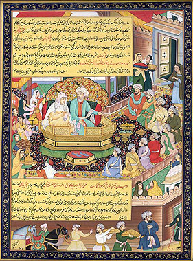 Chingiz Khan Dividing His Empire Between His Sons ((Illustration from the Chingiz-nama)