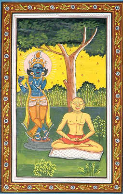 Meditating Chaitanya Mahaprabhu With Shri Krishna
