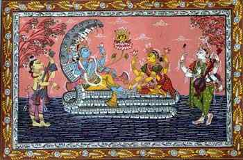 Lord Vishnu with Lakshmi on Sheshnag