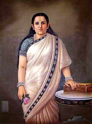 Portrait Of A Lady In Ivory Sari