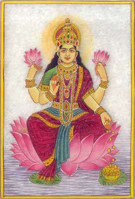 Marble Painting of Goddess Lakshmi