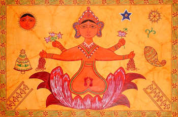 Ritual Painting of Goddess Lakshmi for Worship