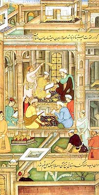Painters and Calligraphers Working in the Royal Atelier (An Illustration from the Akhlaq-i-Nasiri of Nasir ud-Din Tusi), circa 1590 - 1595 (Prince Sadruddin Aga Khan Collection).