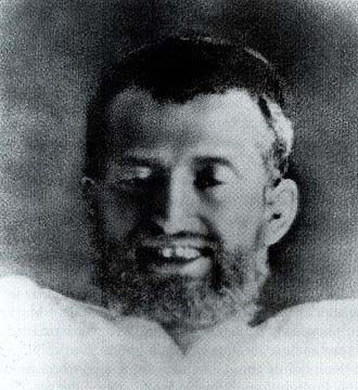 Closeup of Ramakrishna's face in Samadhi cropped from a photograph taken on 21 September 1879