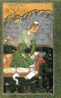 Portrait of a Scholar by artist Mir Sayyid Ali, circa 1549 - 1556 (Los Angeles County Museum of Art, Bequest of Edwin Binney III).