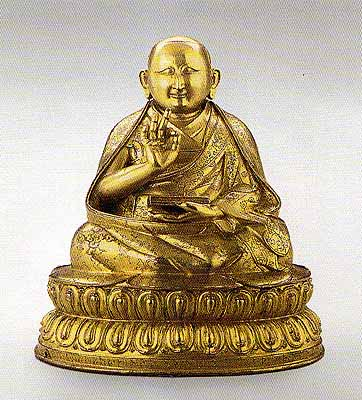 "The Second Dalai Lama. Bronze, gilded, with inscription on the reverse: ""The valuable omniscient Victorious Lord"" Tibet, 16th century."