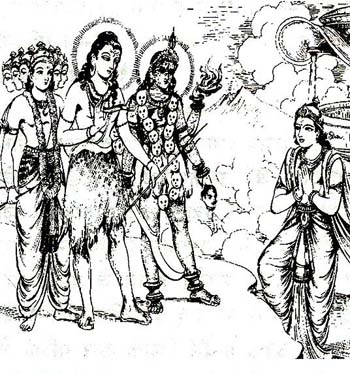 Shankhachuda, Before Commencing Battle with Them, Bows Before Shiva, Kali and Karttikeya