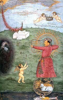 Jahangir Standing on a Globe Shooting Poverty by artist Abu'l Hasan, circa 1625 (Los Angeles County Museum of Art).