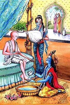 Krishna Washes the Feet of His Guest Sudama