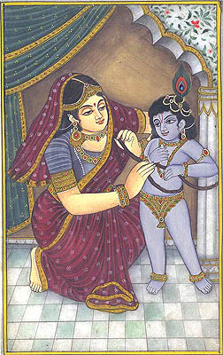 Mother Yashoda Ties up Krishna with a Rope