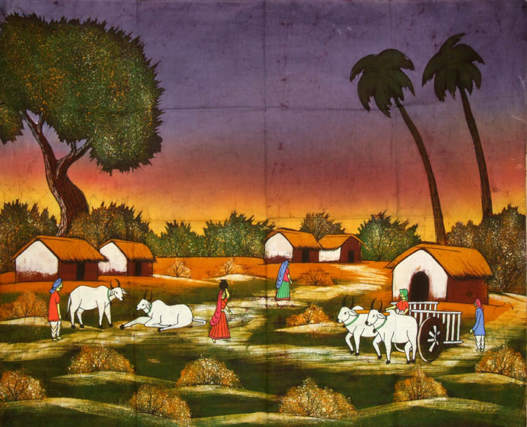 Village Life Paintings Easy A Typical Indian Villa...