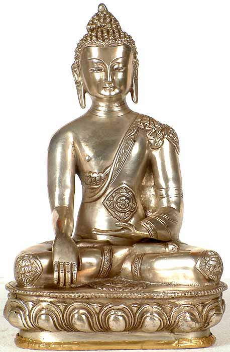 Buddha in Bhumisparsha Mudra with Ashtamangala Carved on His Robe