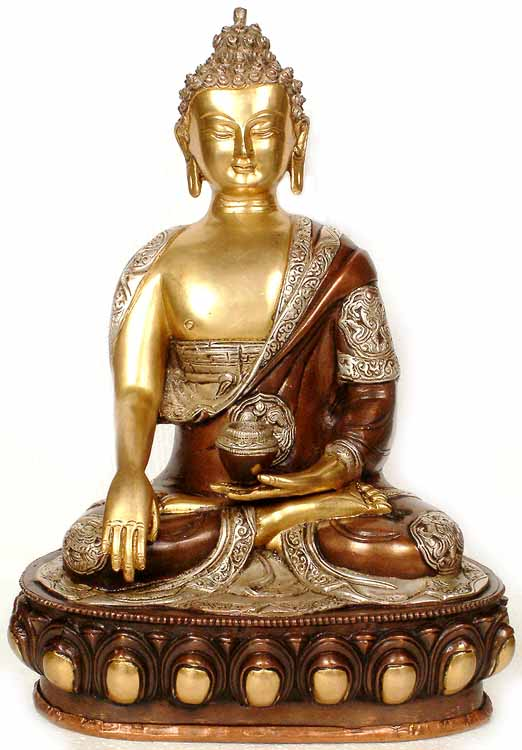 Buddha in the Bhumisparsha Mudra (With the Ashtamangala Carved on His Robe)
