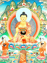 Shakyamuni Buddha with Begging Bowl and Two Main Disciples Shariputra and Maudgalyayana