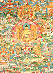 Buddha Shakyamuni Seated on Six Ornament Throne of Enlightenment and the Scenes from His Life