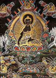 The Buddha Shakyamuni with Five Dhyani Buddhas (Black Thangka)