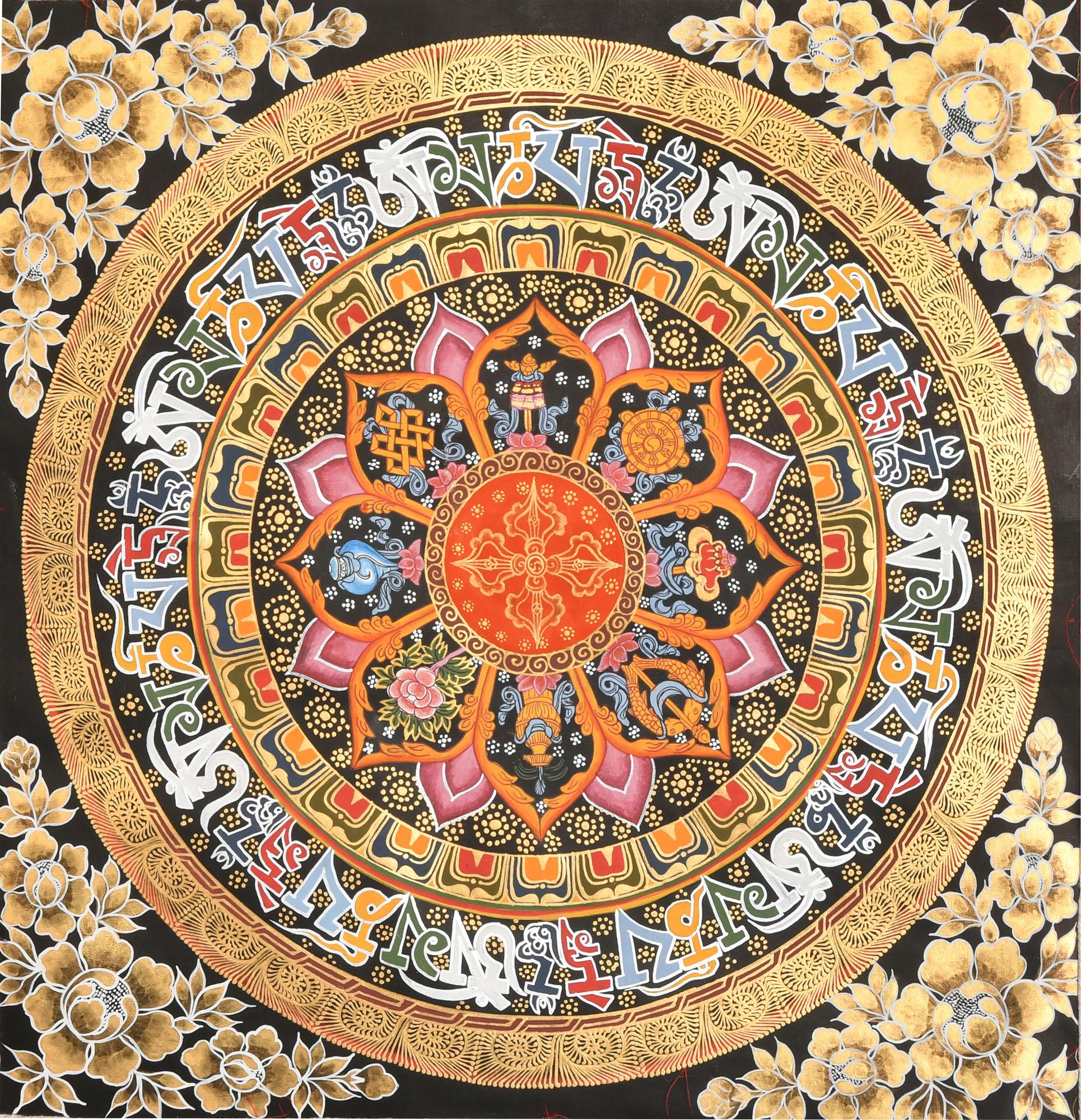 Vishva-Vajra Mandala with Ashtamangala Symbols (Tibetan
