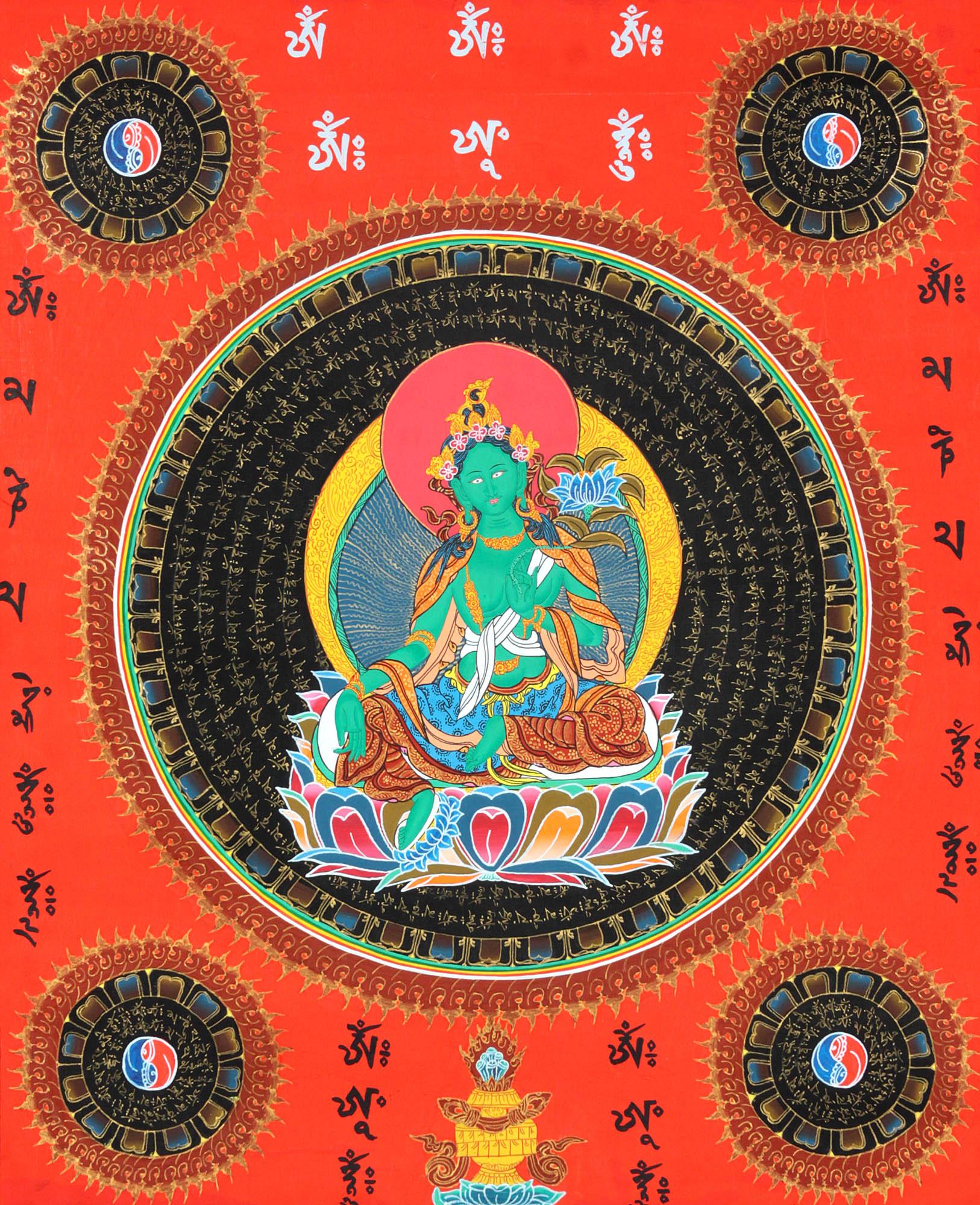 Tibetan Buddhist Goddess Green Tara Mandala With Syllable