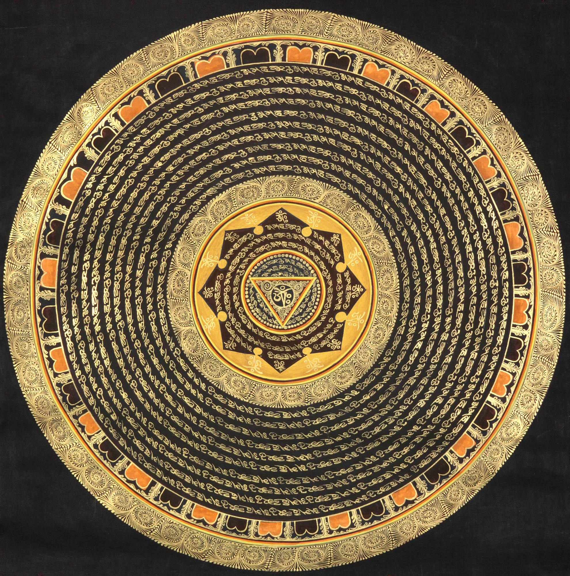 OM (AUM) Yoni Mandala With Auspicious Mantras
