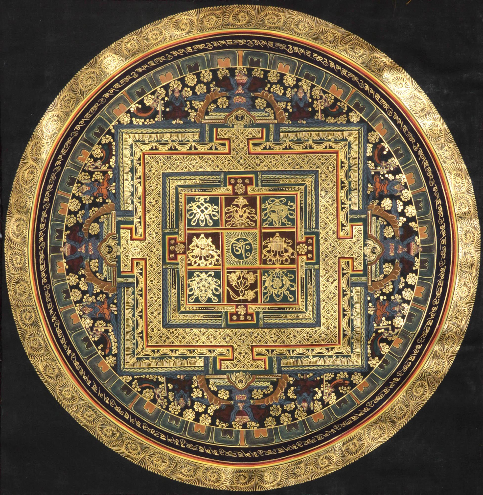 Om (AUM) Mandala With Ashtamangala Symbols
