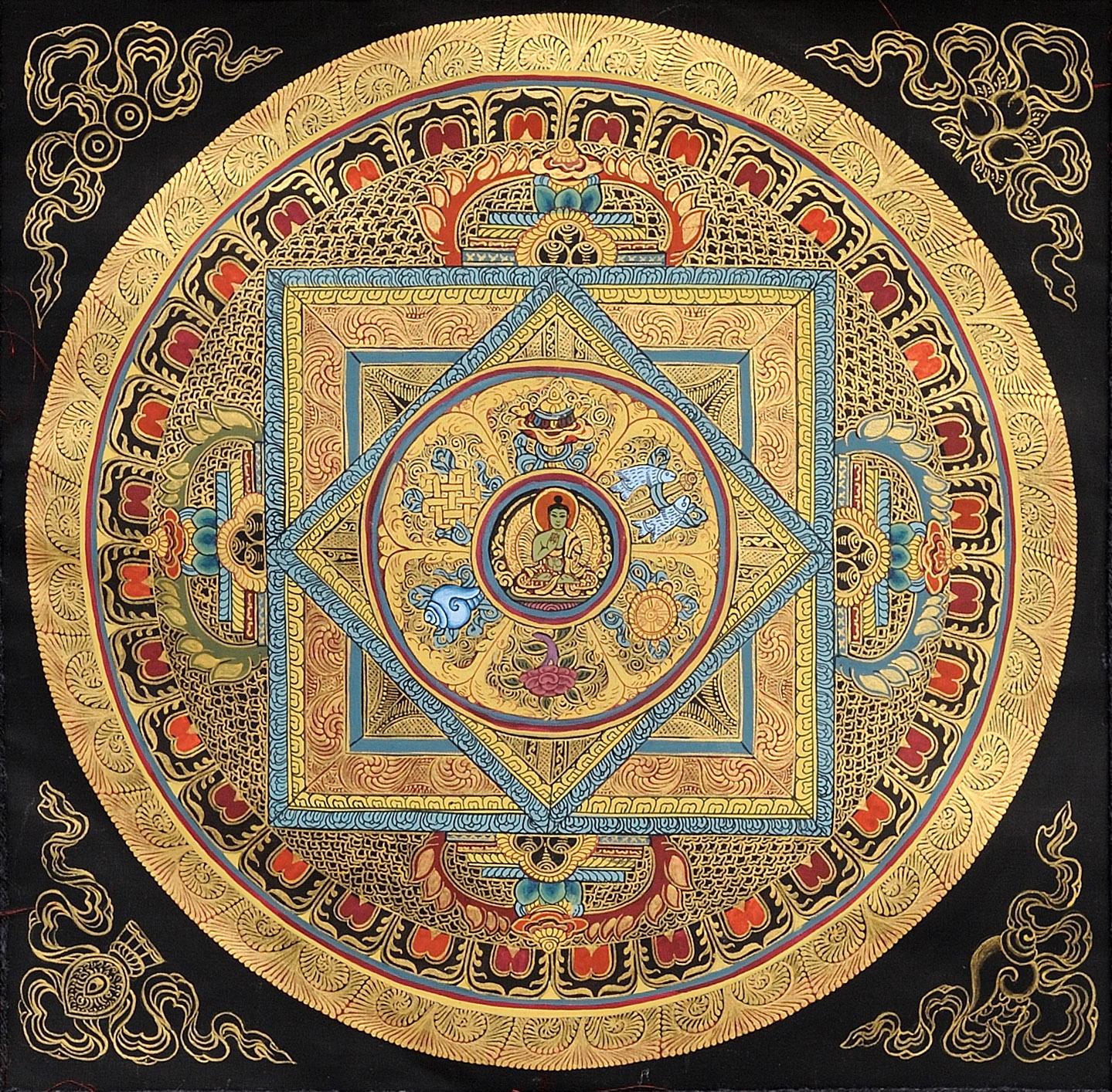 A Mandala Of The Buddha With Auspicious Symbols