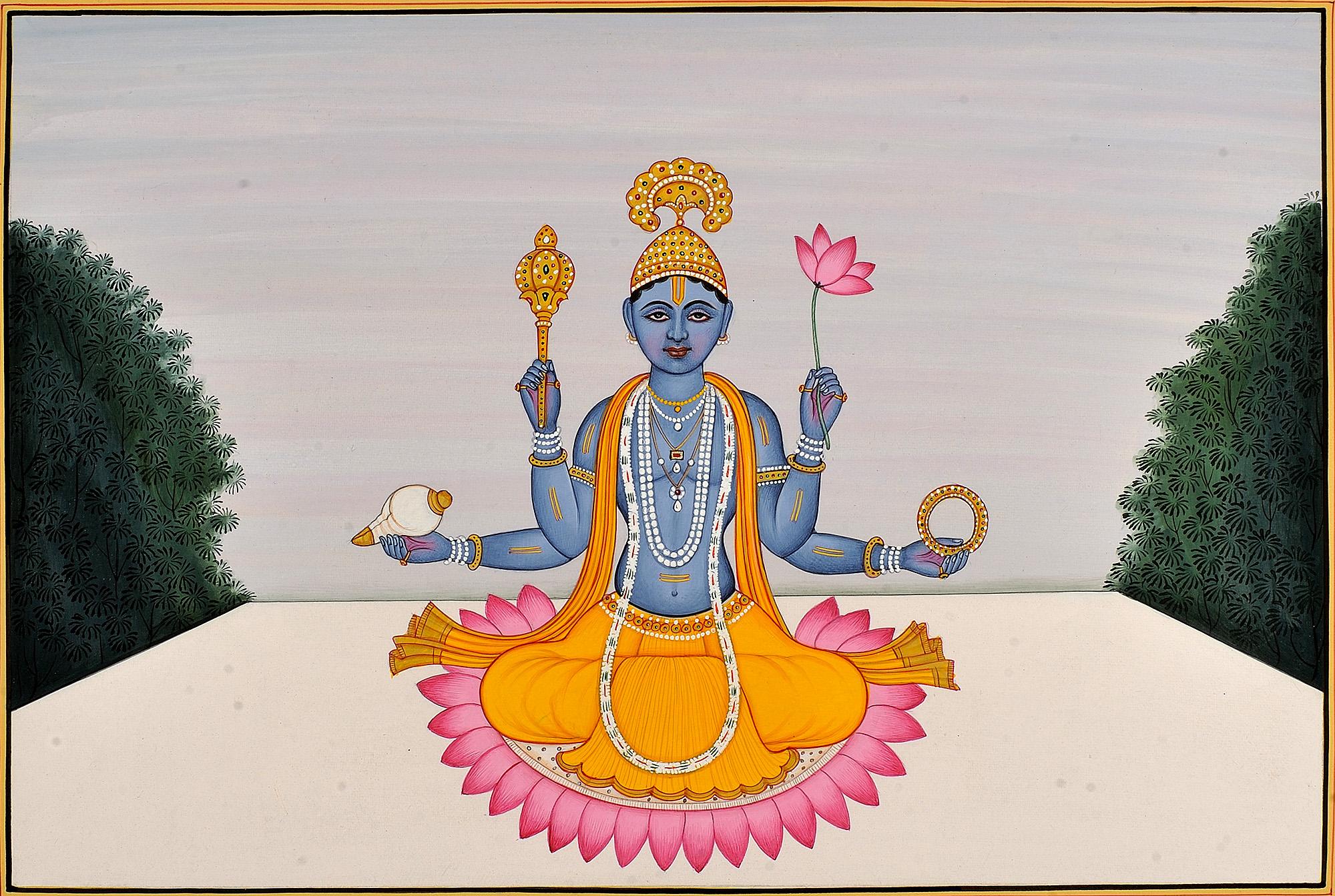 Vishnu Seated On A Lotus Guler School