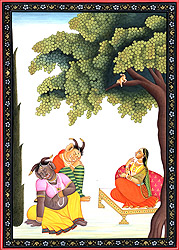 Hanuman Presents Rama's Ring to Sita Surrounded by Rakshasis