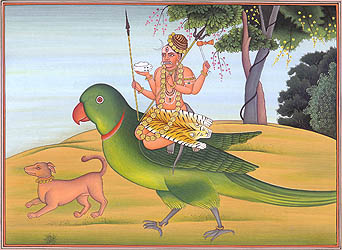 Bhairava Seated on Parrot (Vehicle of Kamadeva)