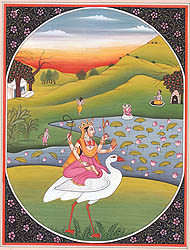 Goddess Saraswati Seated on a Swan