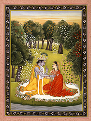 Krishna Appeasing Radha for Not Coming on Time
