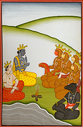 Rama and Lakshmana Confer with Sugriv, Hanuman and Others