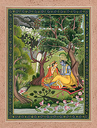 Shri Krishna Braids Radha's Hair in the Grove of Vrindavan