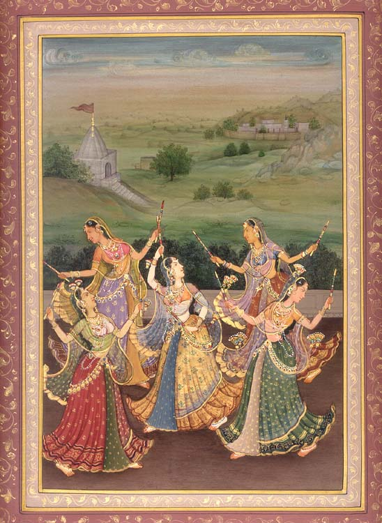 Maidens Performing The Ecstatic Dance Known As Garba