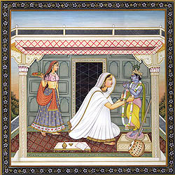 Mirabai Adorning Beloved Lord Krishna with a Garland