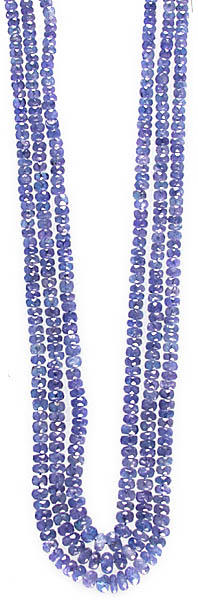 Faceted Blue Sapphire Three Strands Necklace