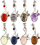 Lot of Eight Gemstone Pendants (Carnelian, Tourmalinated Quartz, Labradorite, Amethyst, Prehnite, Lapis Lazuli, Rose Quartz and Labradorite)