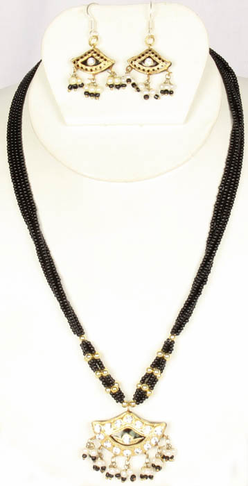 Black Beaded Necklace with Lacquer Pendant and Earrings