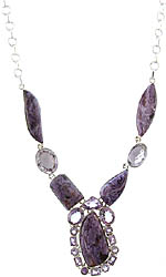Chaorite Necklace with Amethyst