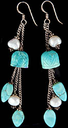 Carved Turquoise Shower Earrings with Pearl