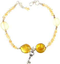 Gemstone Bracelet with Key Charm (Citrine, Pearl and Yellow Chalcedony)