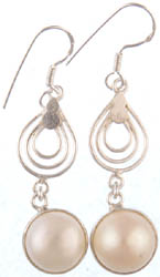 Dangling Pearl Spiral Earrings